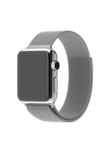 Techmaster Apple Watch 2 3 4 5 6 İçin 38 40mm Metal Hasır TME Kordon Gümüş